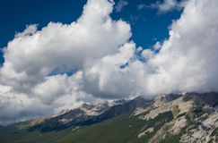 Canadian mountains, clouds. Beautiful Canadian Rockies. Banff Alberta Stock Photos