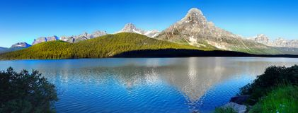 Beautiful Mountain Lake Panorama, Canadian Mountains. Beautiful mountain lake panoramic view in Canadian Mountains. Icefields Parkway, Banff National Park Royalty Free Stock Photo