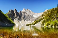 Canadian Mountains, Scenic Landscape, Banff NP. Beautiful mountain lake in Canadian mountains. Scenic landscape. Banff National Park, Canada stock images