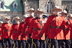 Canadian mounted police officers at parliament hil Royalty Free Stock Photos