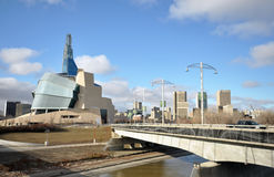 The Canadian Museum for Human Rights near river Royalty Free Stock Photo