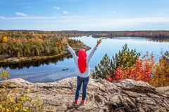 A Canadian muslim enjoying view from top of the hill. During fall season royalty free stock images