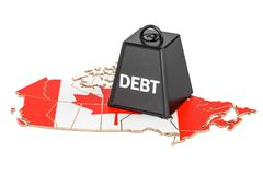 Canadian national debt or budget deficit, financial crisis. Canadian national debt or budget deficit, financial crisis concept, 3D Stock Photos