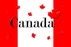 Canadian National Flag With Canada Written On It and Maple Leafs. 3D Rendering Royalty Free Stock Image