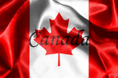 Canadian National Flag 3D Rendering. Canadian National Flag With Maple Leaf On It in Red And White Colors With Canada Written On It Royalty Free Stock Photo