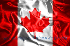 Canadian National Flag 3D Rendering. Canadian National Flag With Maple Leaf On It And Text In French Jour du drapeau national du Canada, meaning, National Flag Stock Images