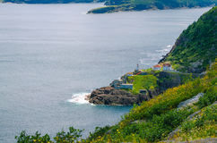 Canadian National Historic Site, Fort Amherst in St John's Newfoundland, Canada. Fort Amherst.  Rugged coastline and Atlantic ocean. Warm summer day in August Stock Photography