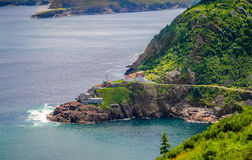 Canadian National Historic Site, Fort Amherst in St John's Newfoundland, Canada. Fort Amherst.  Rugged coastline and Atlantic ocean. Warm summer day in August Royalty Free Stock Photography