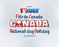 Canadian national holiday, First July, celebration. Holiday design, background with handwriting and 3d texts, maple leaf and national flag colors for First of vector illustration