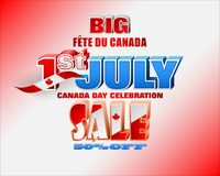 Canadian national holiday, sales, commercial events. Holiday design, background with 3d texts, maple leaf and national flag colors, for First of July, Canada Royalty Free Stock Photography