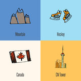 Canadian National Symbols Vector Icons Set royalty free illustration