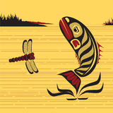 Canadian Native North West Art, vector fish. Canadian Native North West Art, fish jumping out of water Stock Photo