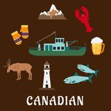 Canadian nature and culture symbols Royalty Free Stock Photos