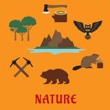 Canadian nature symbols flat icons Royalty Free Stock Photography