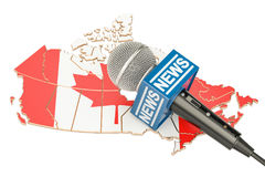 Canadian News concept, microphone news on the map of Canada. 3D. Canadian News concept, microphone news on the map of Canada Stock Photo