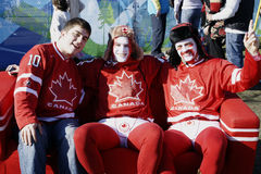 Canadian Olympic Hockey Fans. Hockey fans at the 2010 Vancouver Olympics Royalty Free Stock Photo