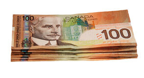 Canadian  one hundred dollar bills Stock Photo