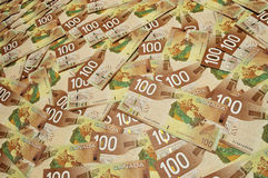 Canadian one hundred dollar bills Stock Photos