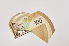 Canadian one hundred dollar bills. Background Stock Photography