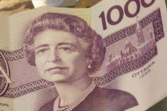 Canadian One Thousand Dollar Bills. A $1000 (One Thousand dollar) Canadian (Canada) dollar bill from 1988 featuring Elizabeth II Stock Photography