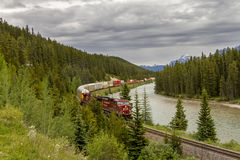 Canadian Pacific Freight Train - Banff National Park Royalty Free Stock Photos