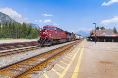 Canadian pacific freight train at the banff station alberta canada stock photo