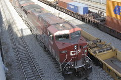 Canadian Pacific Freight Train in Port Montreal Stock Images