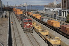 Canadian Pacific Freight Train in Port Montreal Stock Image