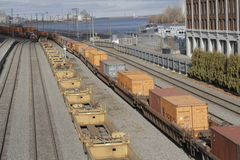 Canadian Pacific Freight Train in Port Montreal. Montreal, Quebec, Canada, 14 December 2015: Canadian Pacific Freight Train is pictured in the railyard of Port Royalty Free Stock Images