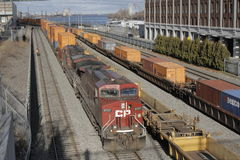 Canadian Pacific Freight Train in Port Montreal. Montreal, Quebec, Canada, 14 December 2015: Canadian Pacific Freight Train is pictured in the railyard of Port Royalty Free Stock Photo