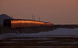 Canadian Pacific Railway Train. Saskatchewan Canada Sunset Royalty Free Stock Photography