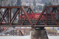 Canadian Pacific Train Crossing Draw Bridge Stock Photos