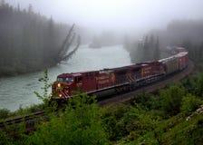 Canadian Pacific Train on Morant`s Curve, Lake Louise, Alberta,. Canadian Pacific Train on Morant`s Curve, Lake Louise Stock Photo