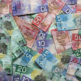 Canadian Paper Currency. Different Canadian Dollar Banknotes closeup Royalty Free Stock Photo