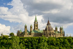 Canadian Parliament. Rear view of the Canadian Parliament buildings sitting atop Parliament Hill in Ottawa, Ontario, Canada stock photo