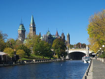 Canadian parliament. Rideau canal and Canadian parliament Stock Photography