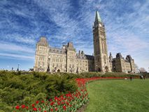 Canadian Parliament Building. As seen from front garden in Ottawa, Canada stock photos