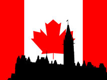 Canadian parliament building. Against flag Stock Photography