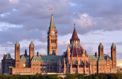 Canadian Parliament Building at Dusk Stock Photography