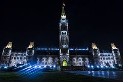 Canadian Parliament Building at Night Stock Photography