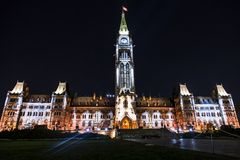Canadian Parliament Building at Night Stock Photo