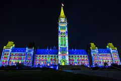 Canadian Parliament Building at Night Stock Photos