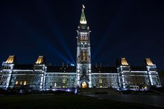 Canadian Parliament Building at Night Royalty Free Stock Photography