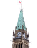 The Canadian Parliament Centre Block. Isolated on White Royalty Free Stock Images