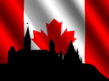 Canadian parliament with flag Royalty Free Stock Images