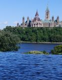 Canadian Parliament Hill. View from Quebec across Ottawa River Stock Images