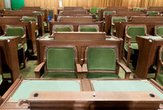 Canadian Parliament: the House of Commons. The House of Commons of the Canadian Parliament in Ottawa, Canada: the chairs used by the Members of Parliament Stock Photo
