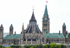 Canadian Parliament with library building and clock tower Royalty Free Stock Photos