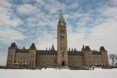 Canadian Parliament. In the snow Stock Image