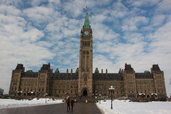 Canadian Parliament. In the snow Stock Images